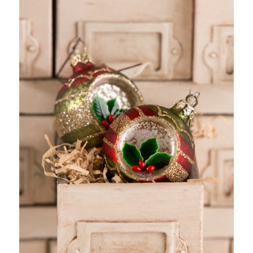 Vintage Holly Onion Indent Ornament 2A