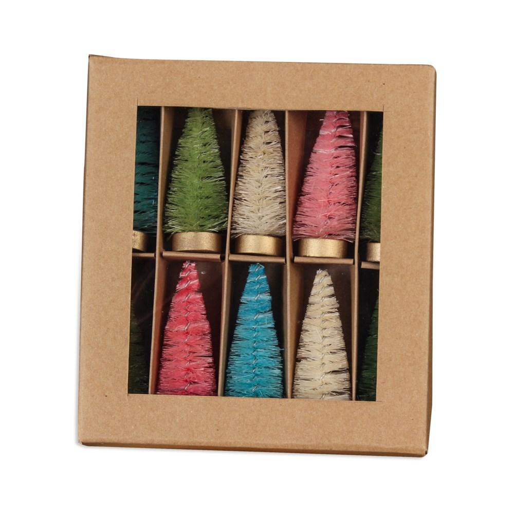 Pastel Bottle Brush Trees in Box S10
