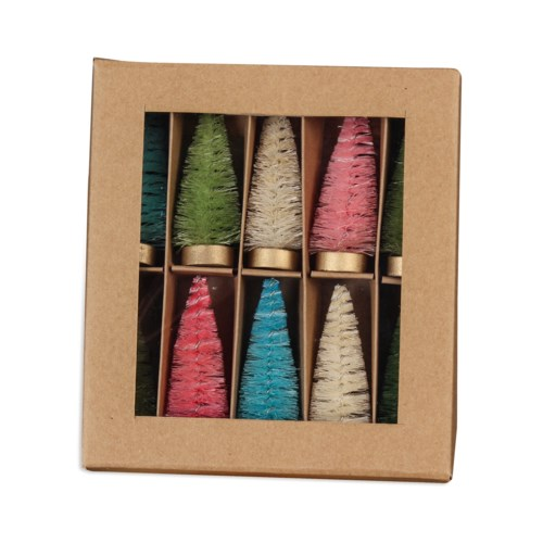 Pastel Bottle Brush Trees in Box S/10