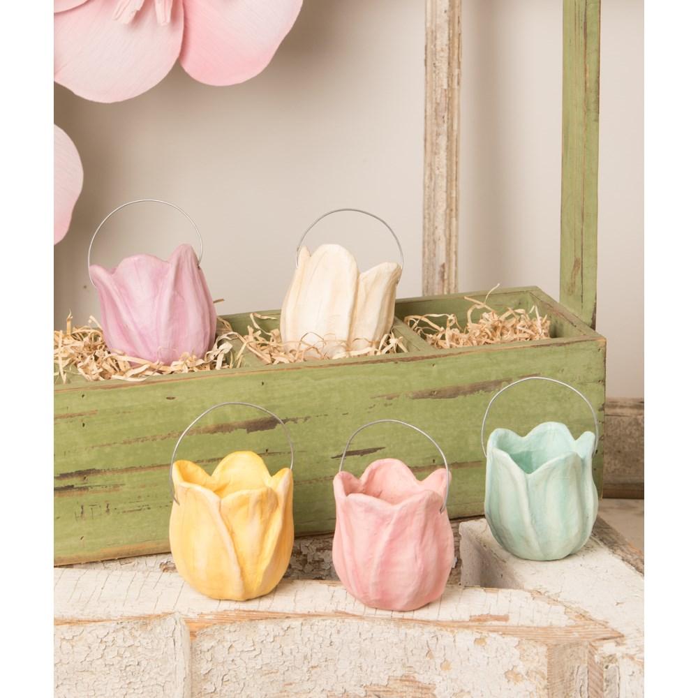 Tulip Bucket White Paper Mache