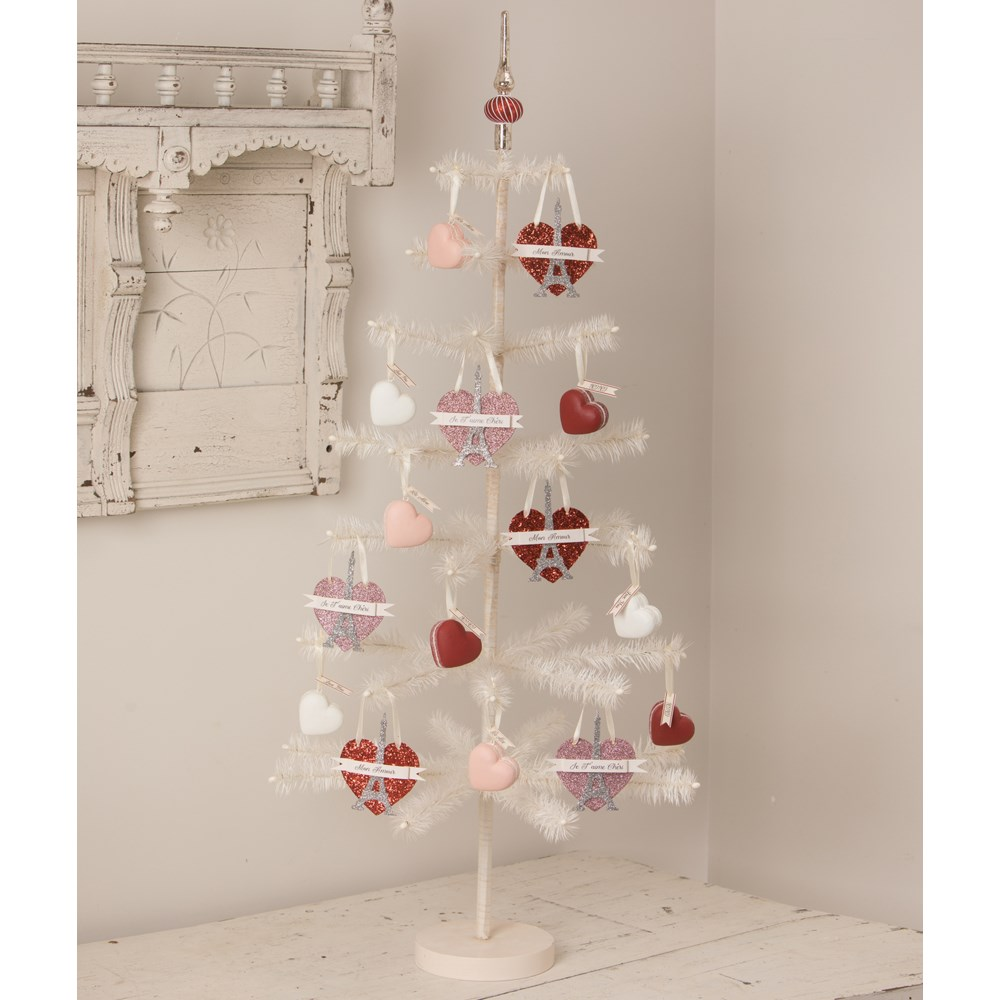 Eiffel Tower Pink Heart Ornament