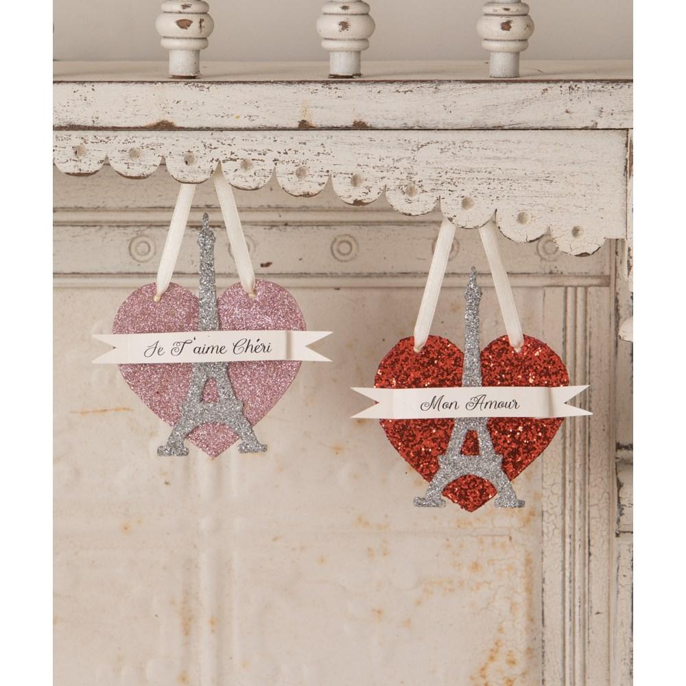 Eiffel Tower Red Heart Ornament