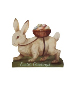 White Bunny with Egg Basket Large Dummy Board