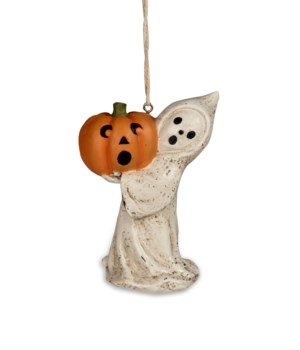 Little Ghost With Jack O'Lantern Ornament