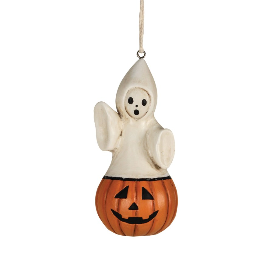 Ghost Coming Out Pumpkin Ornament