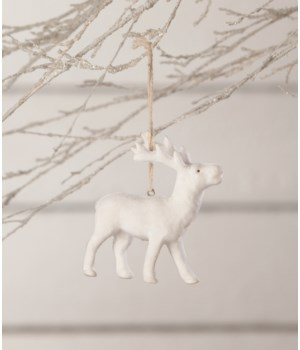 Winter Flocked Stag Ornament