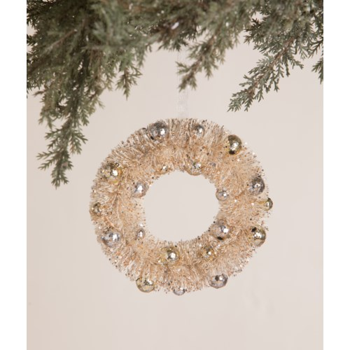 Silver and Gold Beaded Bottle Brush Wreath Ornament
