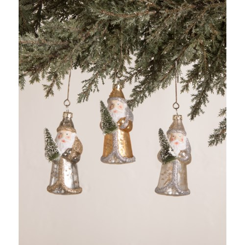 Silver and Gold Santa Mini Ornament 3A