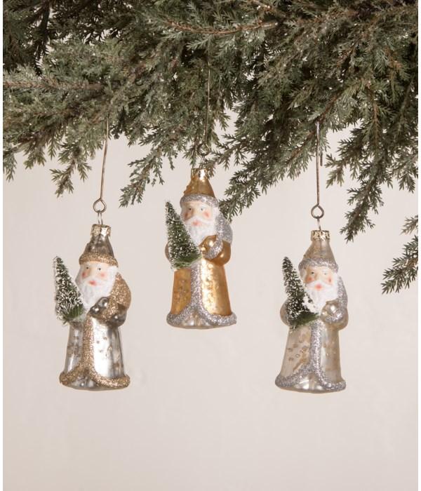 Silver and Gold Santa Mini Ornament 3A