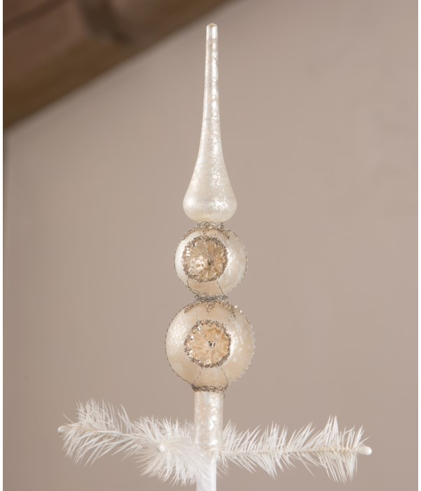 White Indent Finial Tree Topper