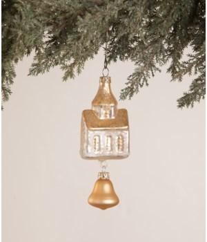 Peaceful Church with Bell Glass Ornament