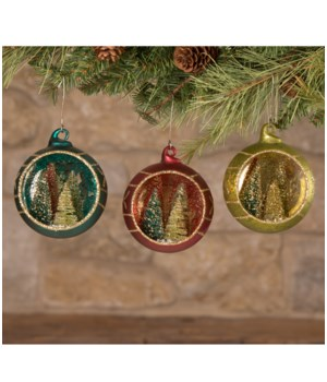 Jewel-Tide Bottle Brush Tree Indent Ornament 3/A