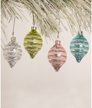 Pastel Glitter Stripe Onion Ornament 4/A