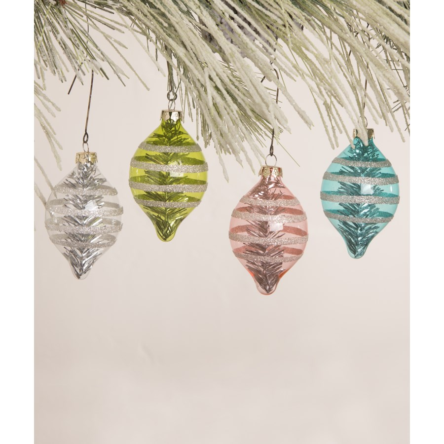 Pastel Glitter Stripe Onion Ornament 4A