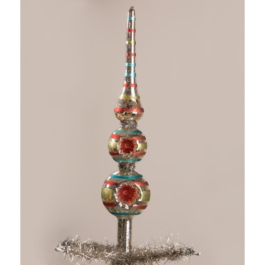 Merry and Bright Striped Indent Tree Topper