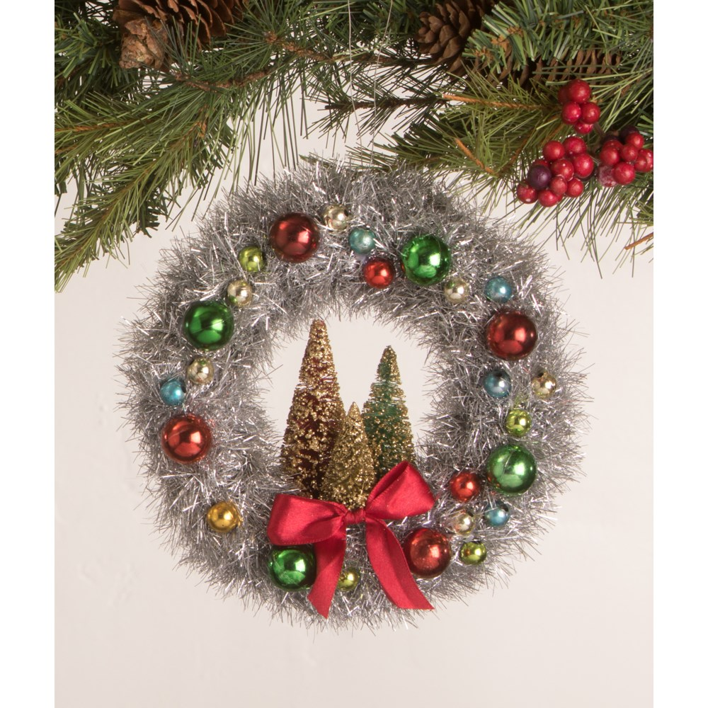 Merry and Bright Tinsel Wreath with Bottle Brush Trees