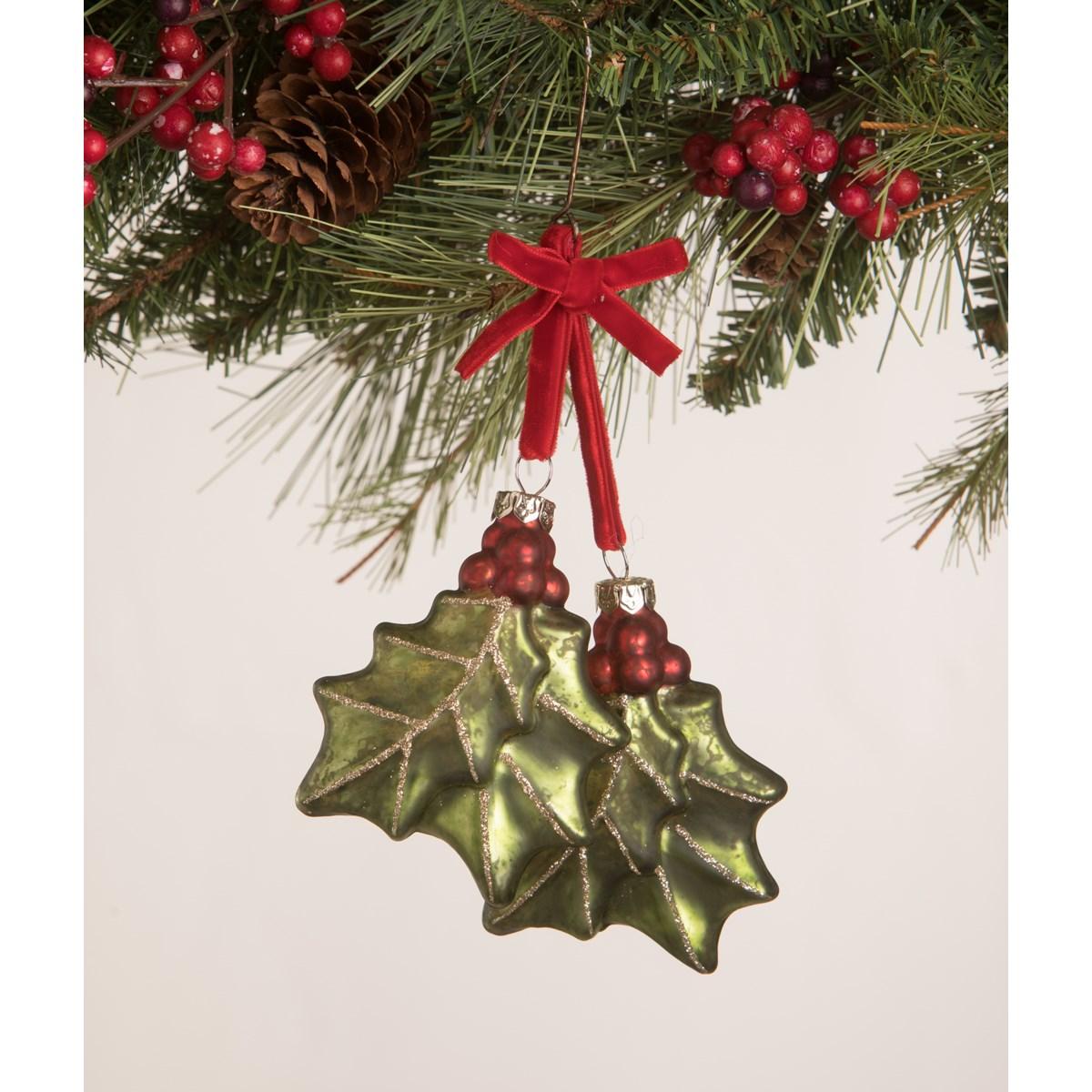 Holly Dangle Ornament