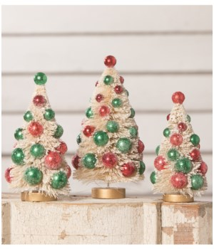 White Bottle Brush Trees with Red and Green Beads S3
