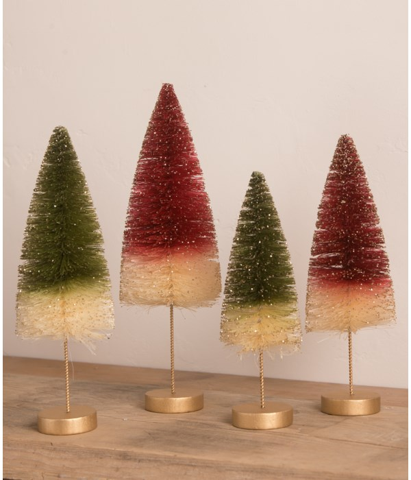 Traditional Bottle Brush Trees with Gold Glitter S4