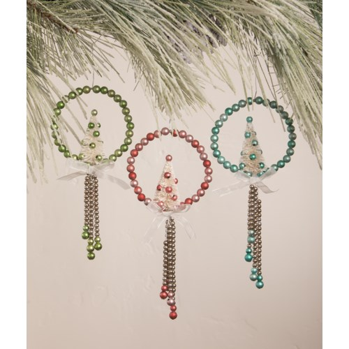 Pastel Beaded Wreath with Bottle Brush Tree Ornament 3A