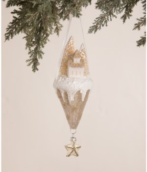 Peaceful Church Cone Glass Ornament