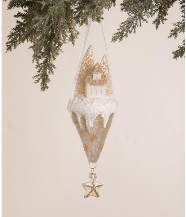 Peaceful Church Cone Glass Ornament