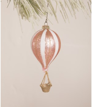 Pink Striped Hot Air Balloon Ornament