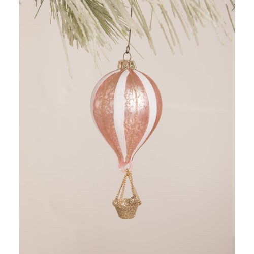 Pink Striped Hot Air Balloon Ornament