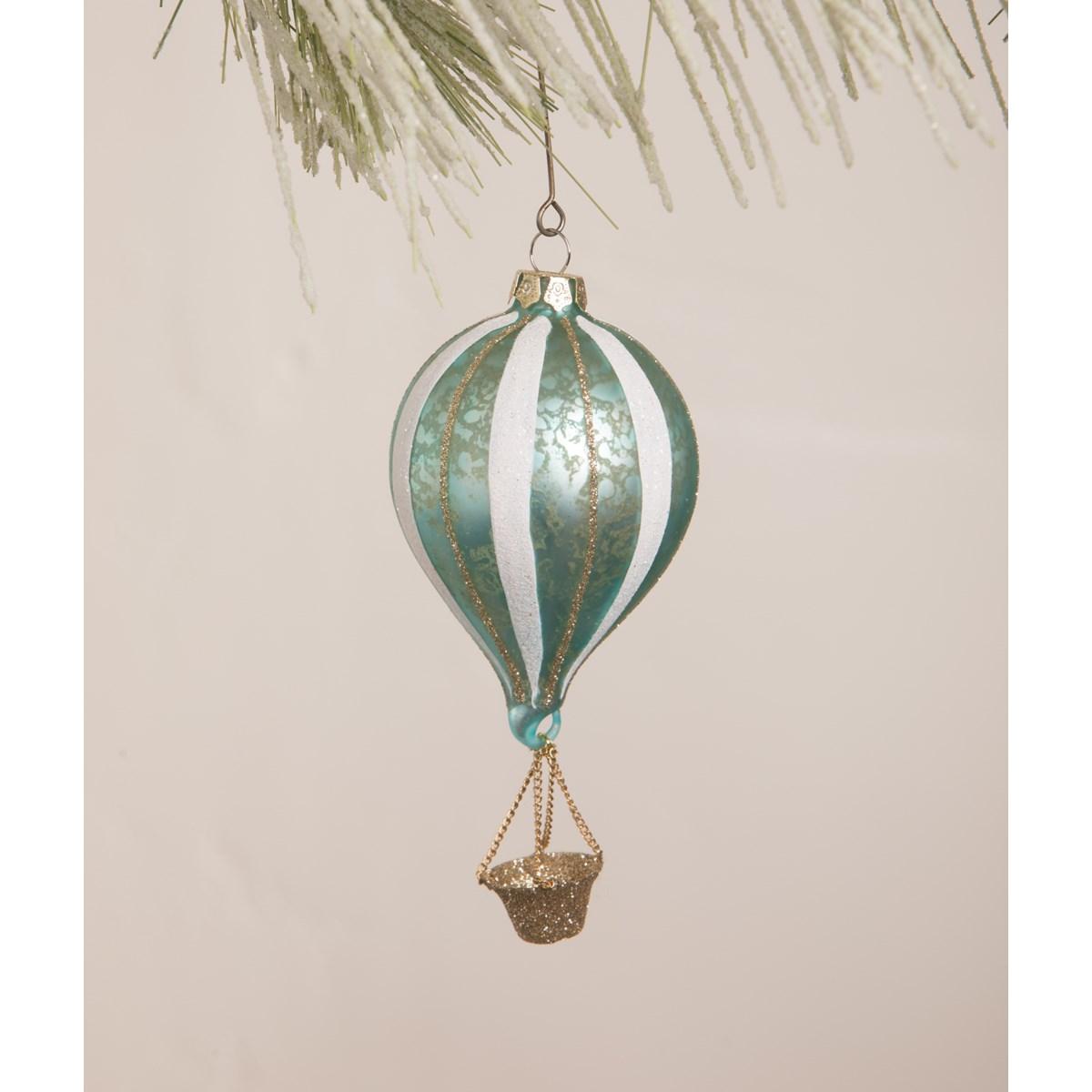 Aqua Striped Hot Air Balloon Ornament