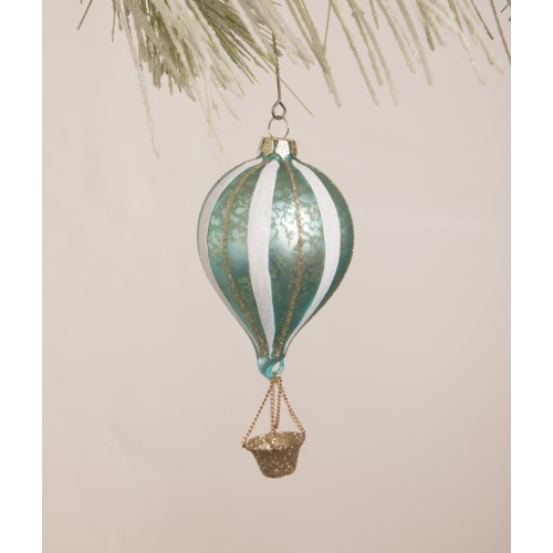 Aqua Striped Hot Air Balloon Ornament