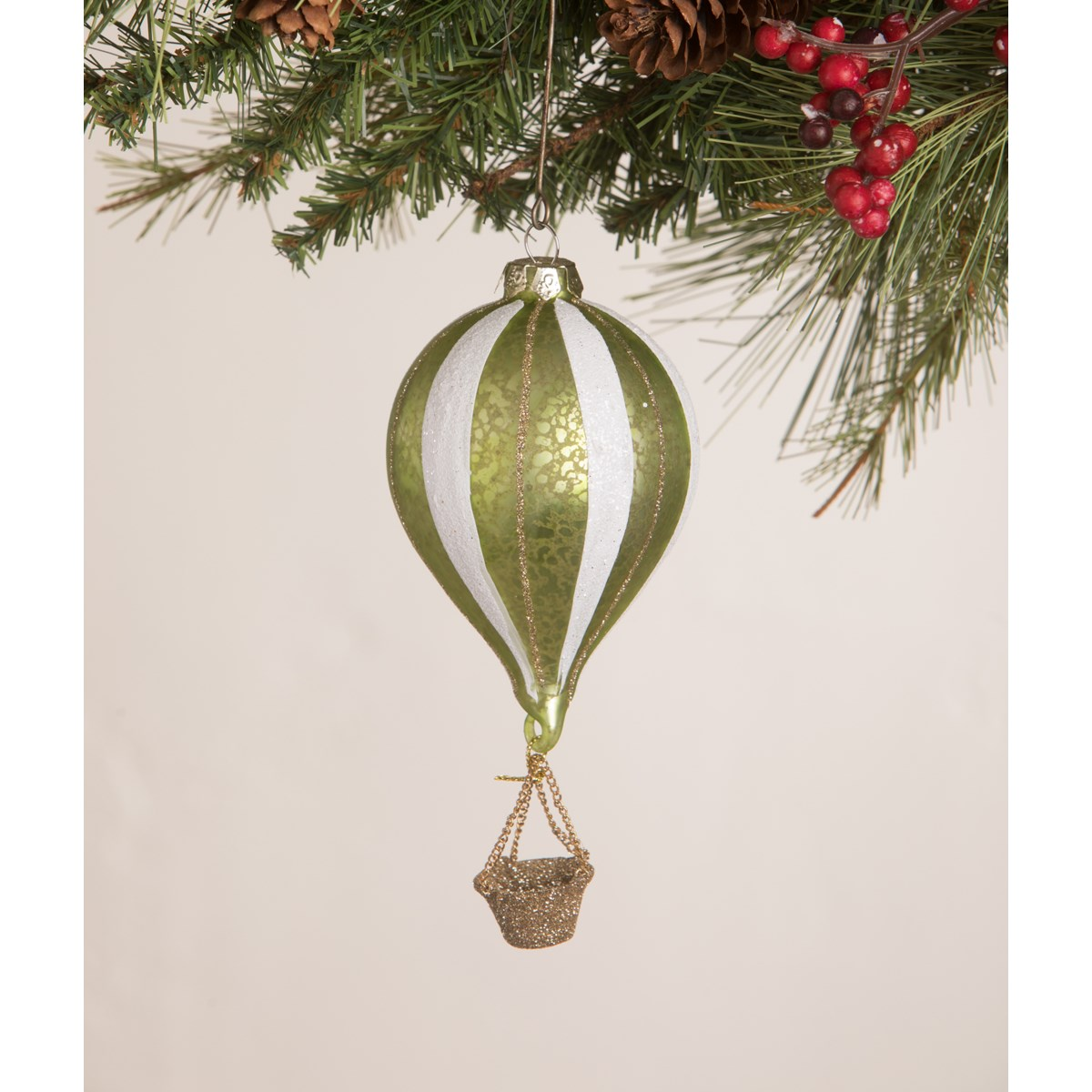 Citrene Striped Hot Air Balloon Ornament