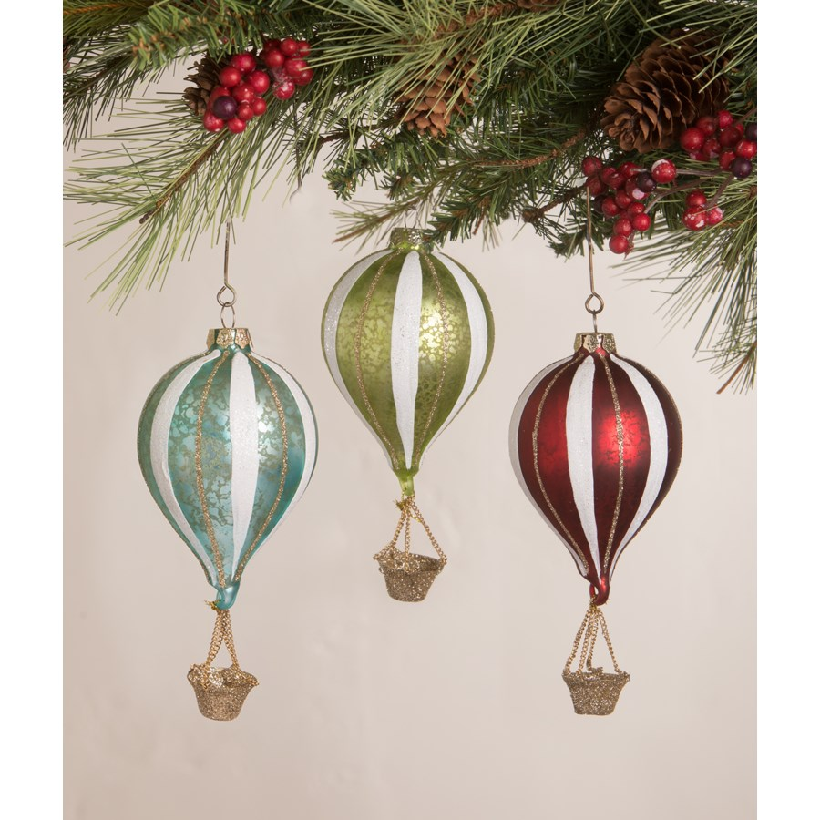 Red Striped Hot Air Balloon Ornament