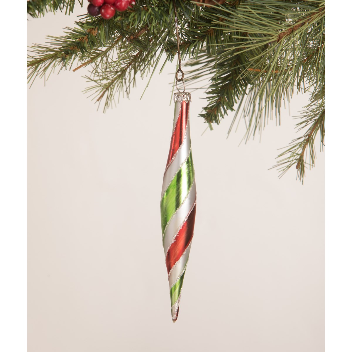 Merry and Bright Striped Finial Ornament