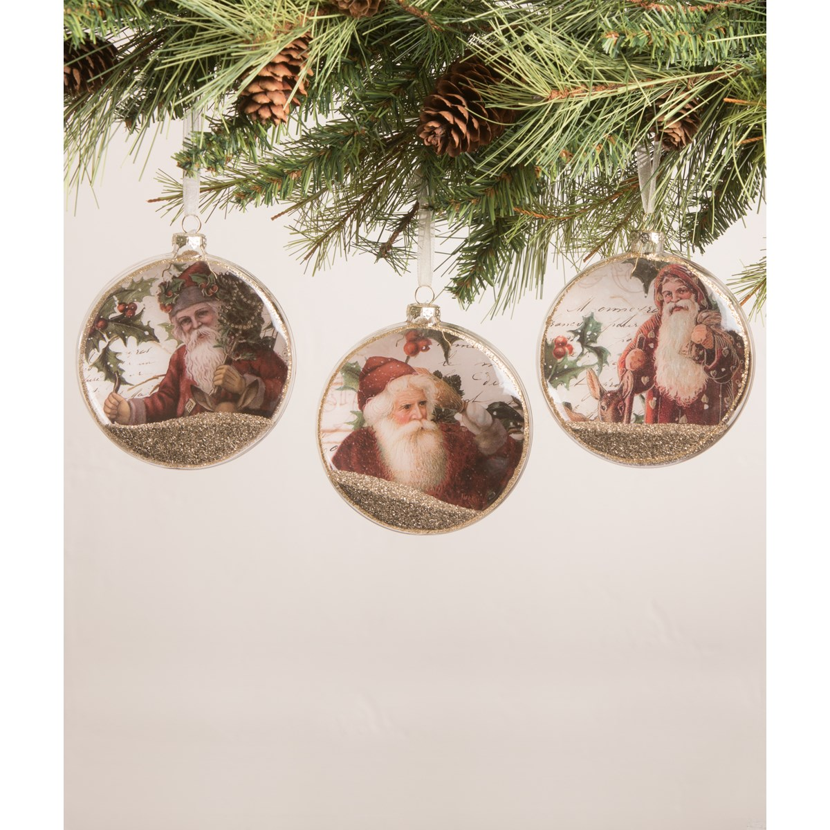 Santa Holly Glass Disc Ornament 3A