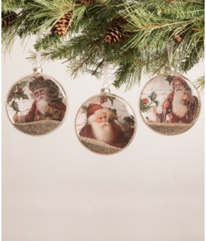 Santa Holly Glass Disc Ornament 3A