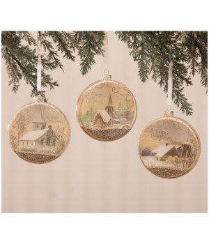 Peaceful Glass Disc Ornament 3A