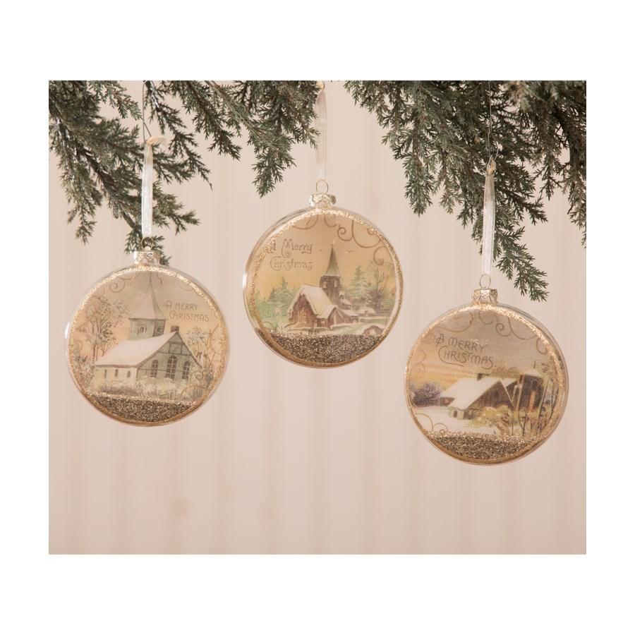 Peaceful Glass Disc Ornament 3A