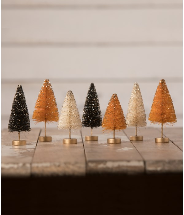 Mini Halloween Bottle Brush Trees with Gold Glitter S7