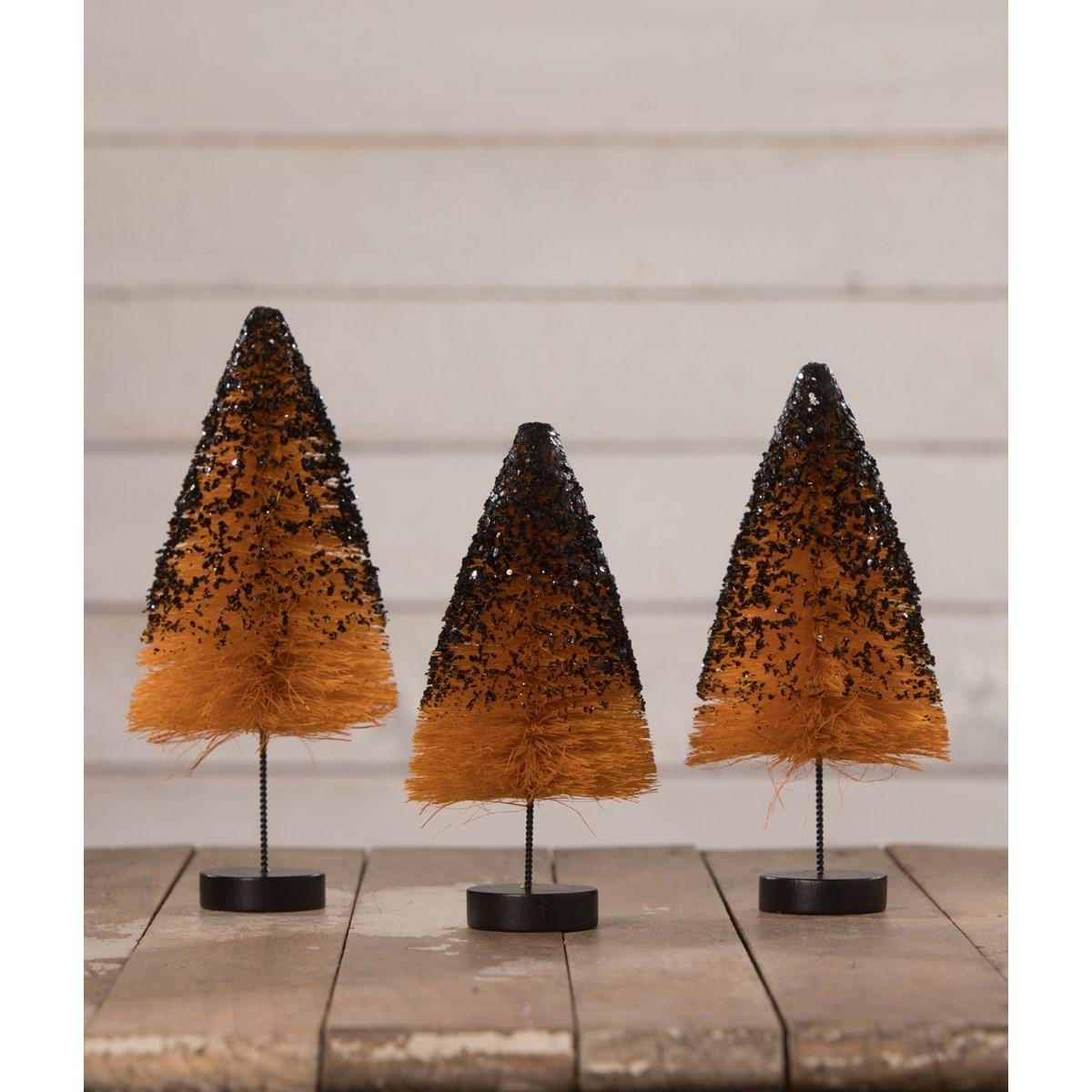 Orange Bottle Brush Trees with Black Glitter S3