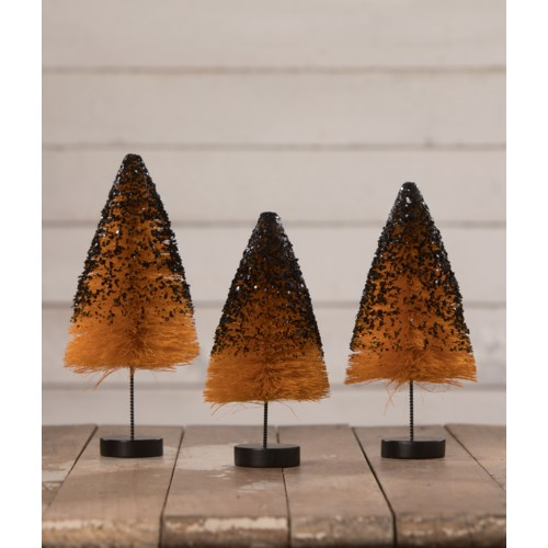 Orange Bottle Brush Trees with Black Glitter S3