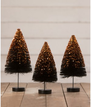 Black Bottle Brush Trees with Orange Glitter S3