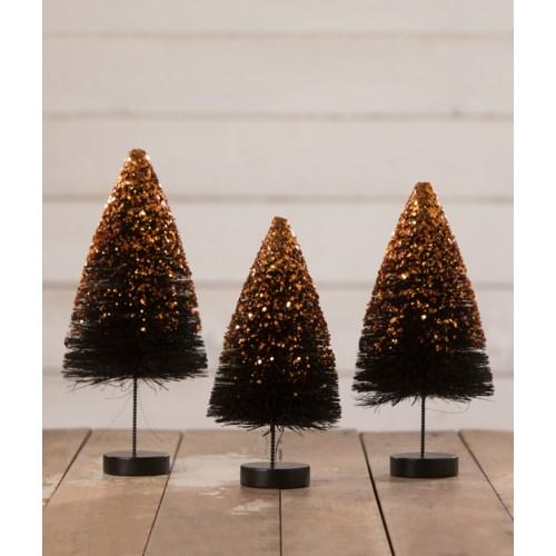 Black Bottle Brush Trees with Orange Glitter S3