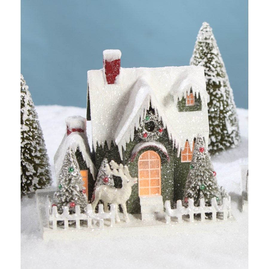 Vintage Putz Christmas House Large 2/A