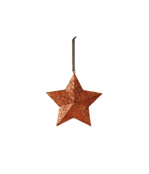 Orange Glittered Star Medium