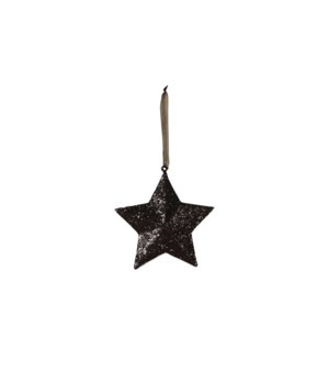 Black Glittered Star Small