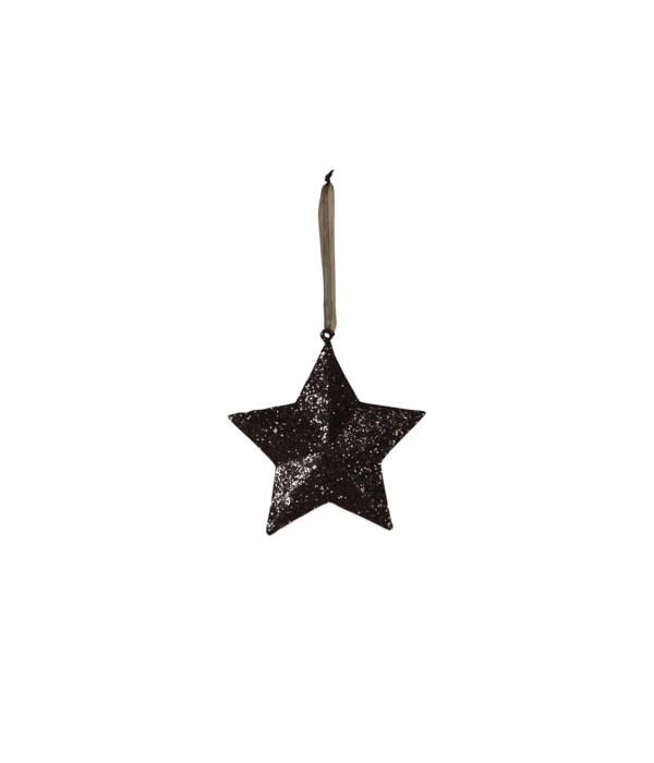 Black Glittered Star Small
