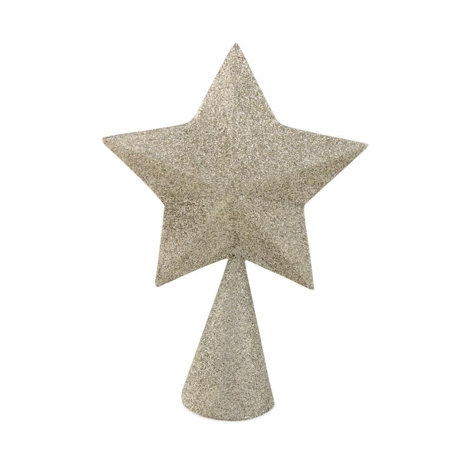 Platinum Glittered Star Tree Topper