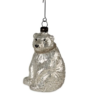 Vintage Glass Polar Bear Ornament