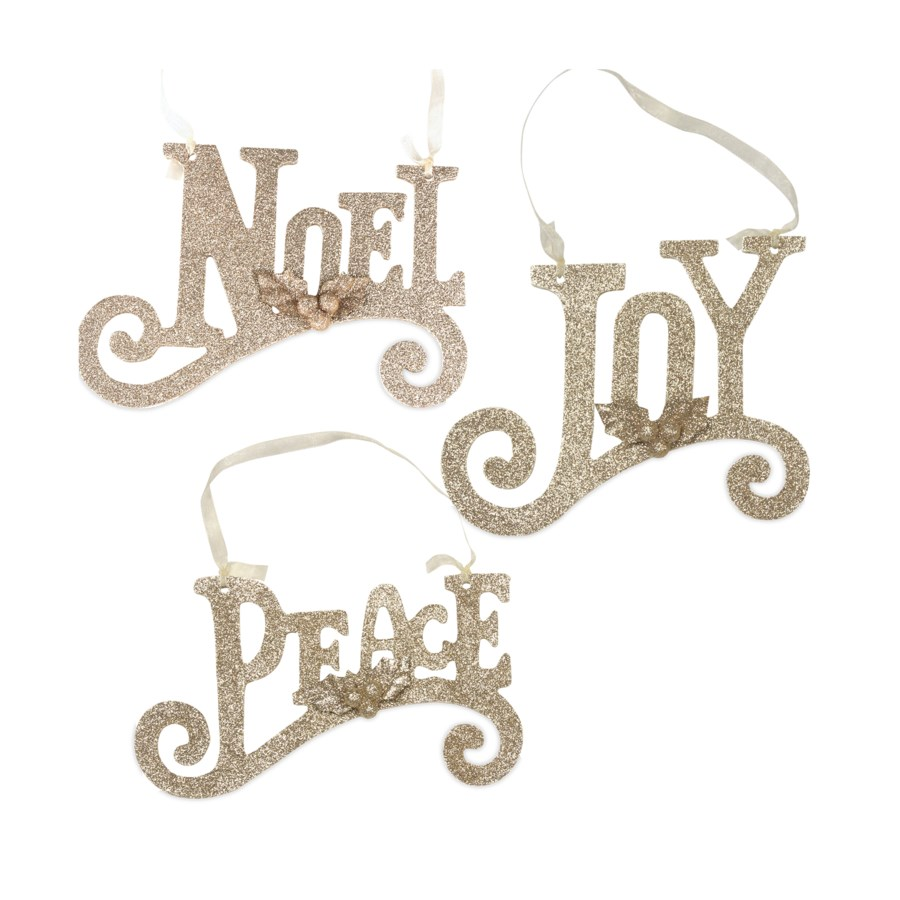 Gold Glittered Word Ornament 3/A
