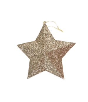 Gold Glitter Star Ornament Large